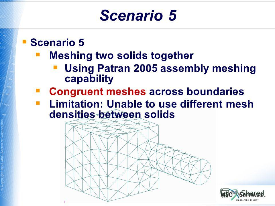WS11-21 Scenario 5 Meshing two solids together Using Patran 2005 assembly meshing capability Congruent meshes across boundaries Limitation: Unable to use different mesh densities between solids