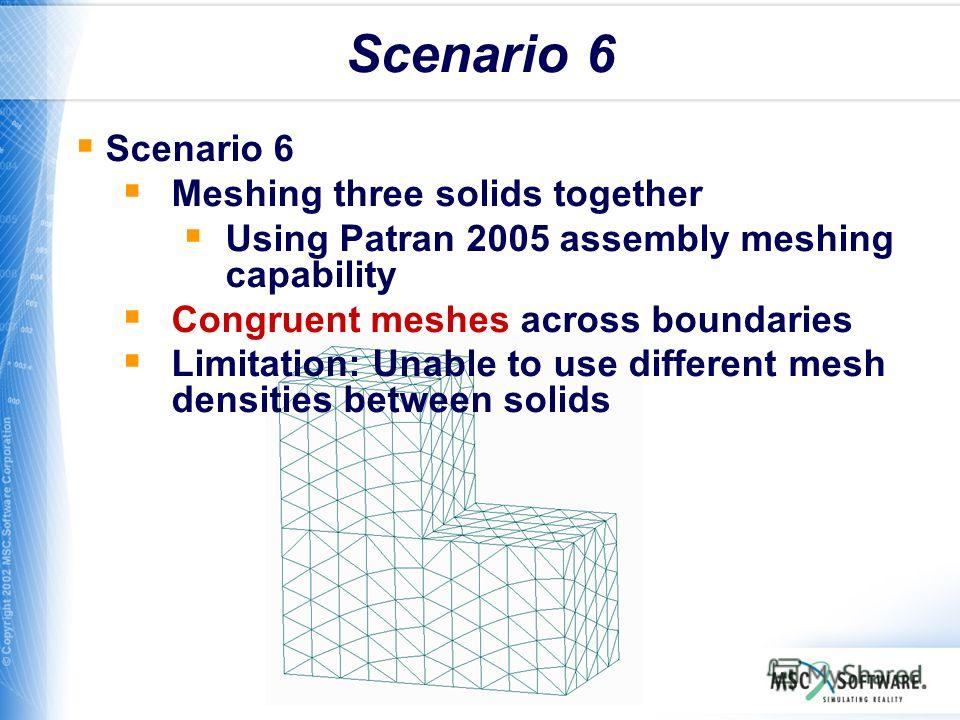 WS11-26 Scenario 6 Meshing three solids together Using Patran 2005 assembly meshing capability Congruent meshes across boundaries Limitation: Unable to use different mesh densities between solids