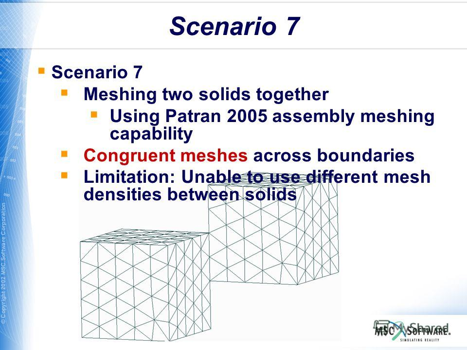 WS11-30 Scenario 7 Meshing two solids together Using Patran 2005 assembly meshing capability Congruent meshes across boundaries Limitation: Unable to use different mesh densities between solids