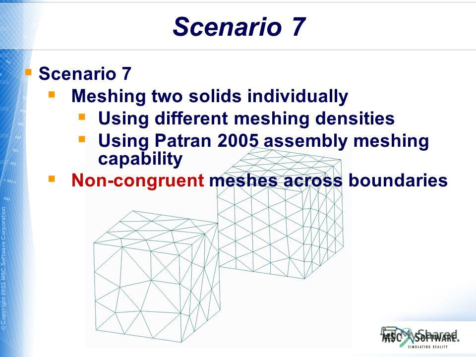 WS11-31 Scenario 7 Meshing two solids individually Using different meshing densities Using Patran 2005 assembly meshing capability Non-congruent meshes across boundaries