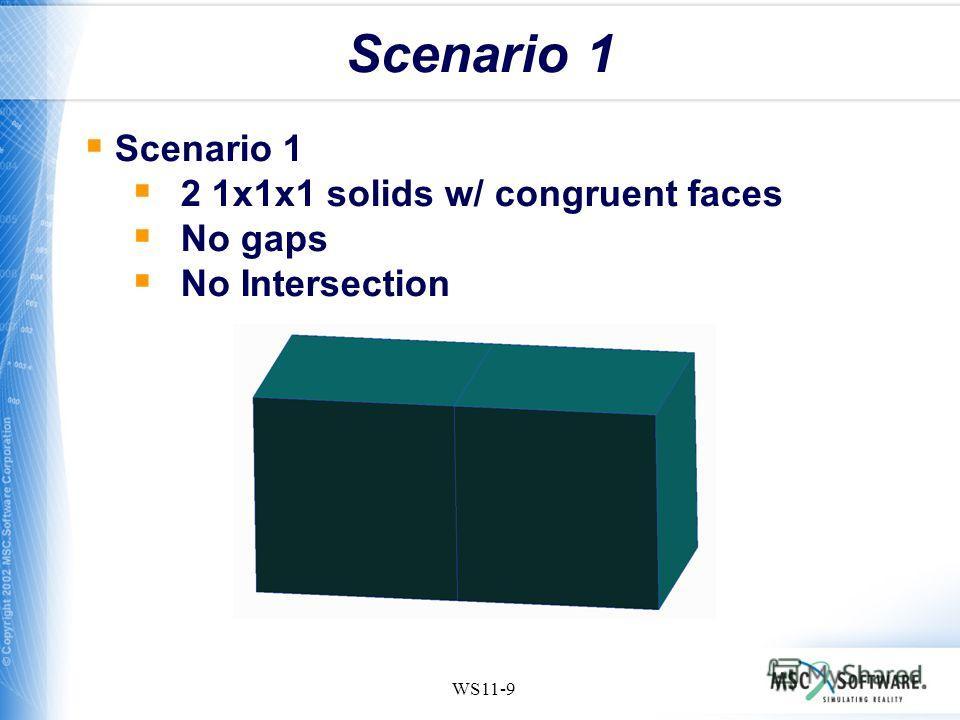 WS11-9 Scenario 1 2 1x1x1 solids w/ congruent faces No gaps No Intersection