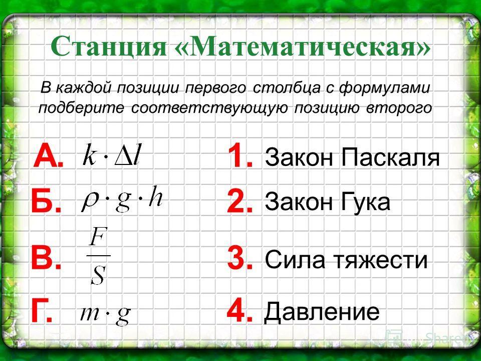 Станция «Математическая» В каждой позиции первого столбца с формулами подберите соответствующую позицию второго 1. Закон Паскаля 2. Закон Гука 3. Сила тяжести 4. Давление А. Б. В. Г.