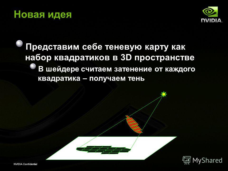 NVIDIA Confidential Новая идея Представим себе теневую карту как набор квадратиков в 3D пространстве В шейдере считаем затенение от каждого квадратика – получаем тень
