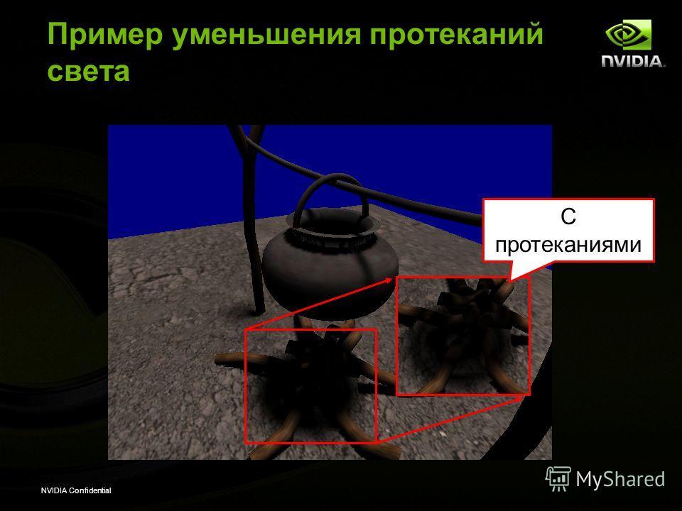 NVIDIA Confidential Пример уменьшения протеканий света С протеканиями