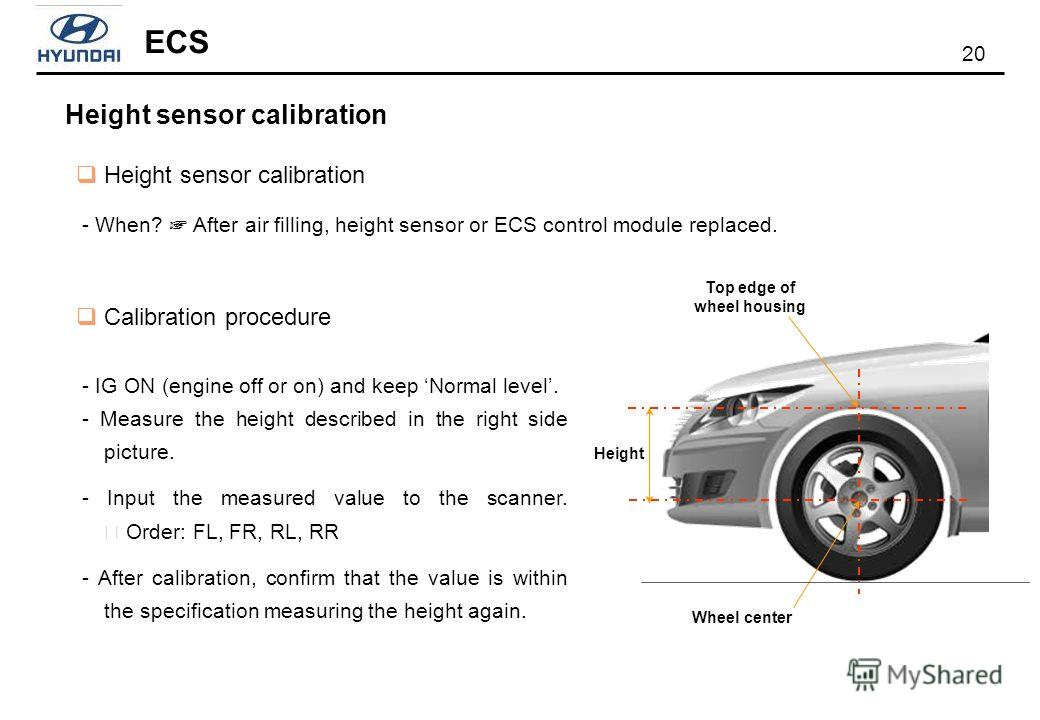 20 ECS Height sensor calibration - When? After air filling, height sensor or ECS control module replaced. Calibration procedure - IG ON (engine off or on) and keep Normal level. - Measure the height described in the right side picture. - Input the me