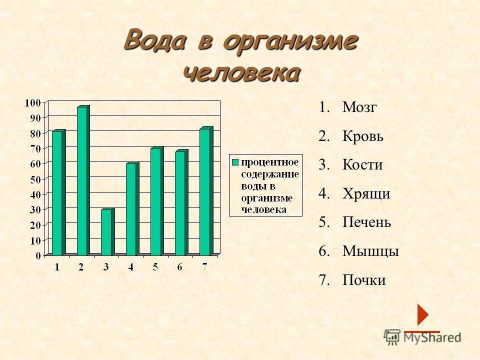 Вода в организме человека 1. Мозг 2. Кровь 3. Кости 4. Хрящи 5. Печень 6. Мышцы 7.Почки