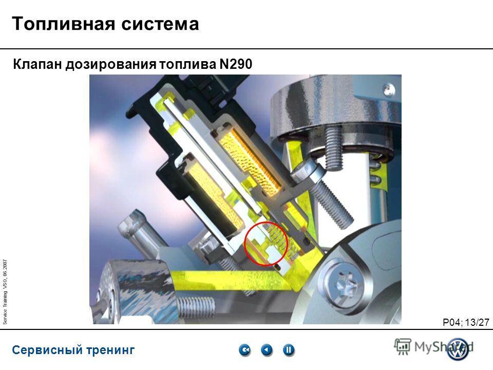 Сервисный тренинг P04; 13/27 Service Training VSQ, 06.2007 Топливная система Клапан дозирования топлива N290
