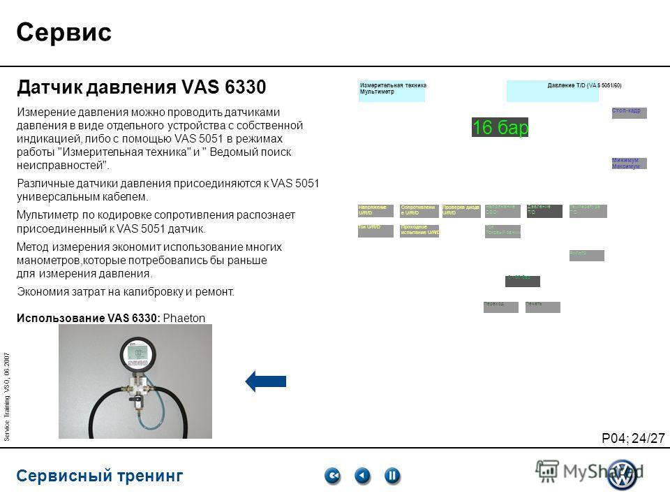 Сервисный тренинг P04; 24/27 Service Training VSQ, 06.2007 Сервис Датчик давления VAS 6330 Измерение давления можно проводить датчиками давления в виде отдельного устройства с собственной индикацией, либо с помощью VAS 5051 в режимах работы