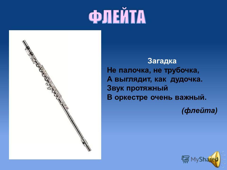 Загадка Не палочка, не трубочка, А выглядит, как дудочка. Звук протяжный В оркестре очень важный. (флейта)