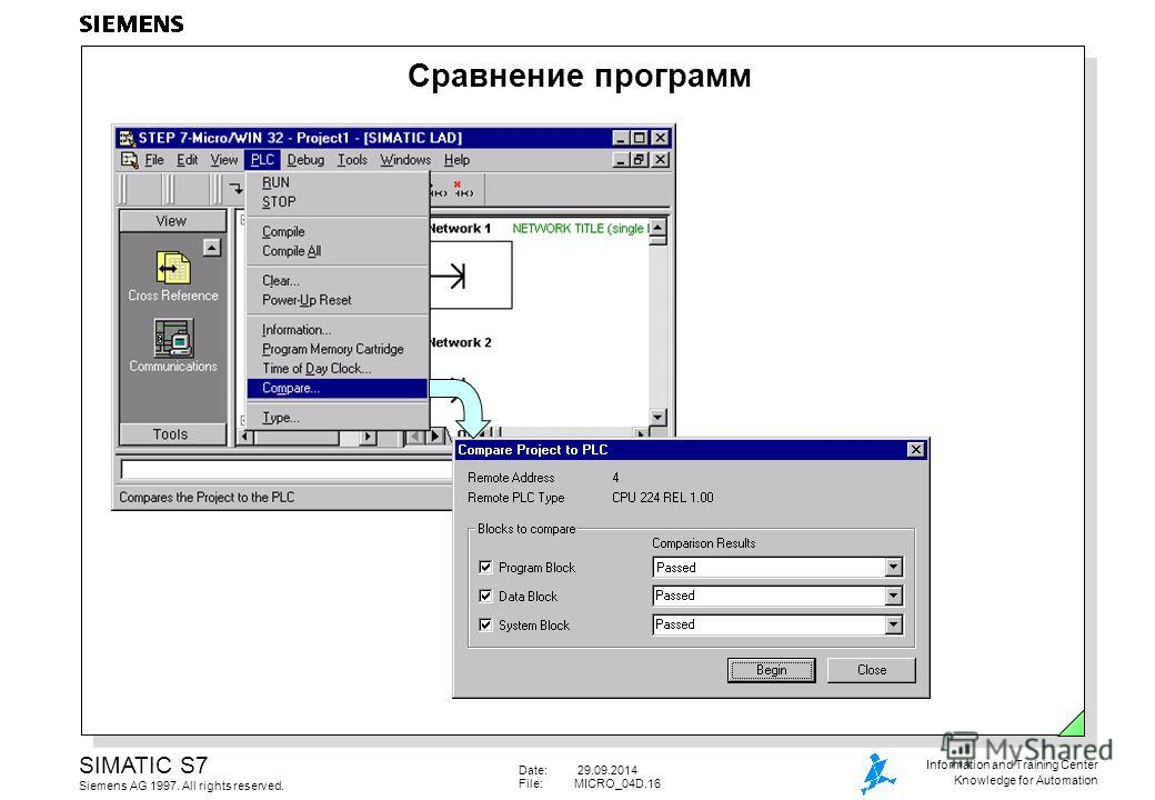 Date: 29.09.2014 File:MICRO_04D.16 SIMATIC S7 Siemens AG 1997. All rights reserved. Information and Training Center Knowledge for Automation Сравнение программ
