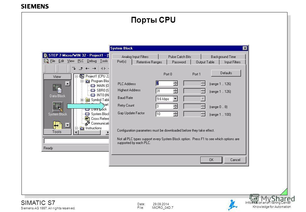 Date: 29.09.2014 File:MICRO_04D.7 SIMATIC S7 Siemens AG 1997. All rights reserved. Information and Training Center Knowledge for Automation Порты CPU