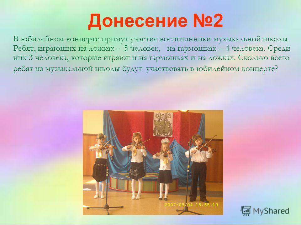 В юбилейном концерте примут участие воспитанники музыкальной школы. Ребят, играющих на ложках - 5 человек, на гармошках – 4 человека. Среди них 3 человека, которые играют и на гармошках и на ложках. Сколько всего ребят из музыкальной школы будут учас