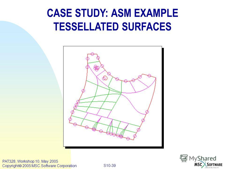 Copyright ® 2000 MSC.Software Results S10-39 PAT328, Workshop 10, May 2005 Copyright 2005 MSC.Software Corporation CASE STUDY: ASM EXAMPLE TESSELLATED SURFACES