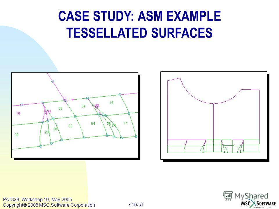Copyright ® 2000 MSC.Software Results S10-51 PAT328, Workshop 10, May 2005 Copyright 2005 MSC.Software Corporation CASE STUDY: ASM EXAMPLE TESSELLATED SURFACES