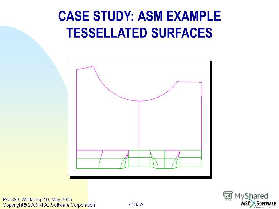 Copyright ® 2000 MSC.Software Results S10-53 PAT328, Workshop 10, May 2005 Copyright 2005 MSC.Software Corporation CASE STUDY: ASM EXAMPLE TESSELLATED SURFACES