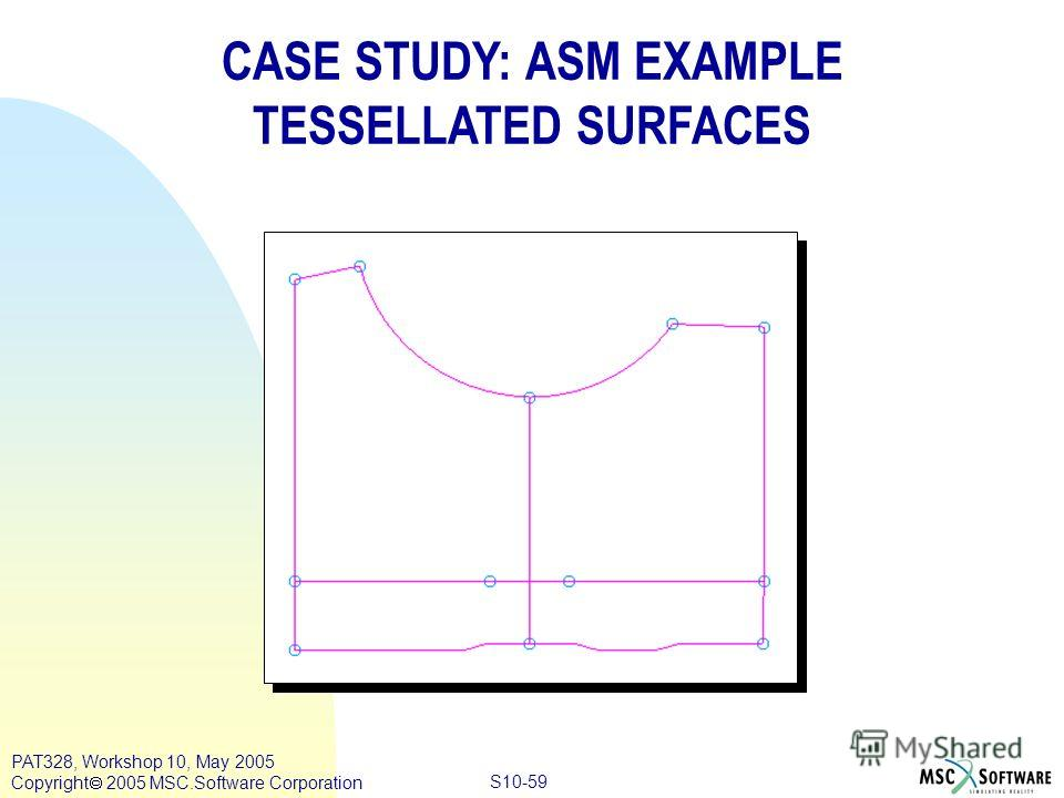 Copyright ® 2000 MSC.Software Results S10-59 PAT328, Workshop 10, May 2005 Copyright 2005 MSC.Software Corporation CASE STUDY: ASM EXAMPLE TESSELLATED SURFACES