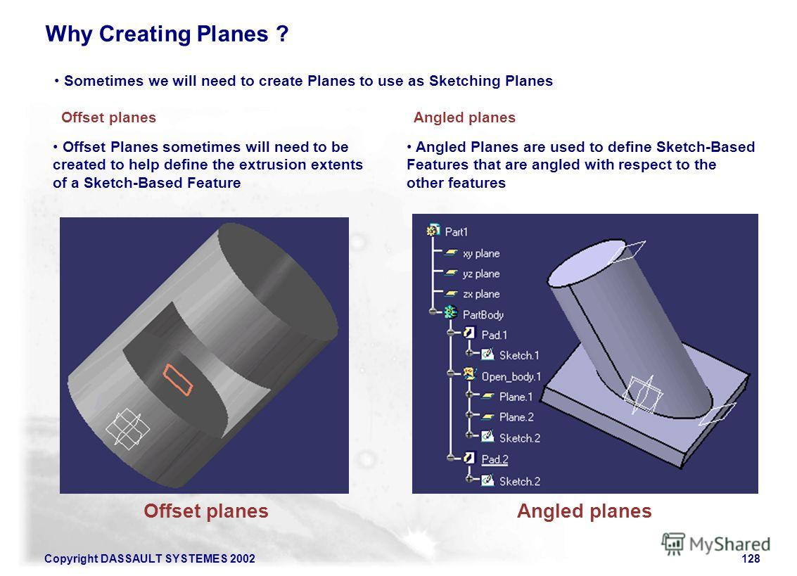 Copyright DASSAULT SYSTEMES 2002128 Sometimes we will need to create Planes to use as Sketching Planes Angled planes Why Creating Planes ? Offset planes Offset Planes sometimes will need to be created to help define the extrusion extents of a Sketch-