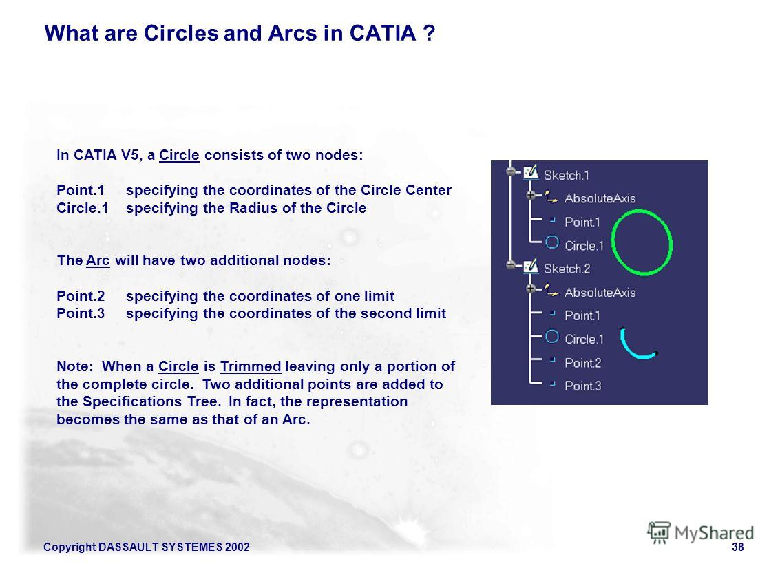 Copyright DASSAULT SYSTEMES 200238 What are Circles and Arcs in CATIA ? In CATIA V5, a Circle consists of two nodes: Point.1 specifying the coordinates of the Circle Center Circle.1 specifying the Radius of the Circle The Arc will have two additional