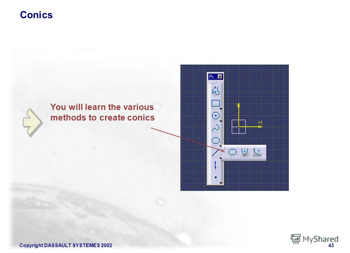 Copyright DASSAULT SYSTEMES 200243 You will learn the various methods to create conics Conics