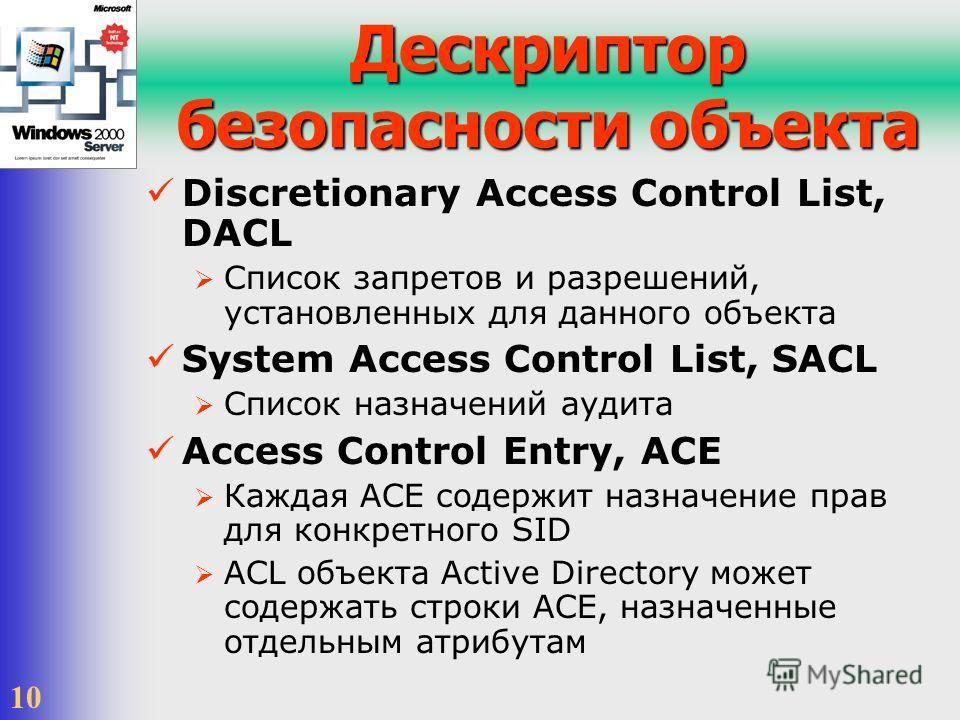 10 Дескриптор безопасности объекта Discretionary Access Control List, DACL Список запретов и разрешений, установленных для данного объекта System Access Control List, SACL Список назначений аудита Access Control Entry, ACE Каждая ACE содержит назначе