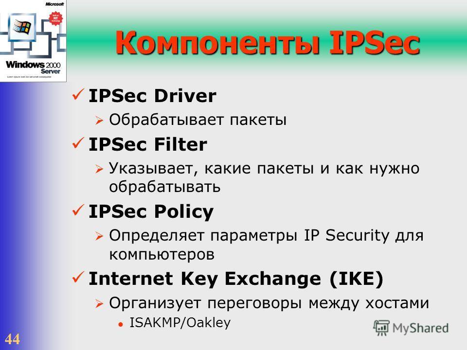 44 Компоненты IPSec IPSec Driver Обрабатывает пакеты IPSec Filter Указывает, какие пакеты и как нужно обрабатывать IPSec Policy Определяет параметры IP Security для компьютеров Internet Key Exchange (IKE) Организует переговоры между хостами ISAKMP/Oa