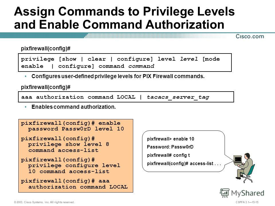 © 2003, Cisco Systems, Inc. All rights reserved. CSPFA 3.115-15 Assign Commands to Privilege Levels and Enable Command Authorization privilege [show | clear | configure] level level [mode enable | configure] command command pixfirewall(config)# pixfi