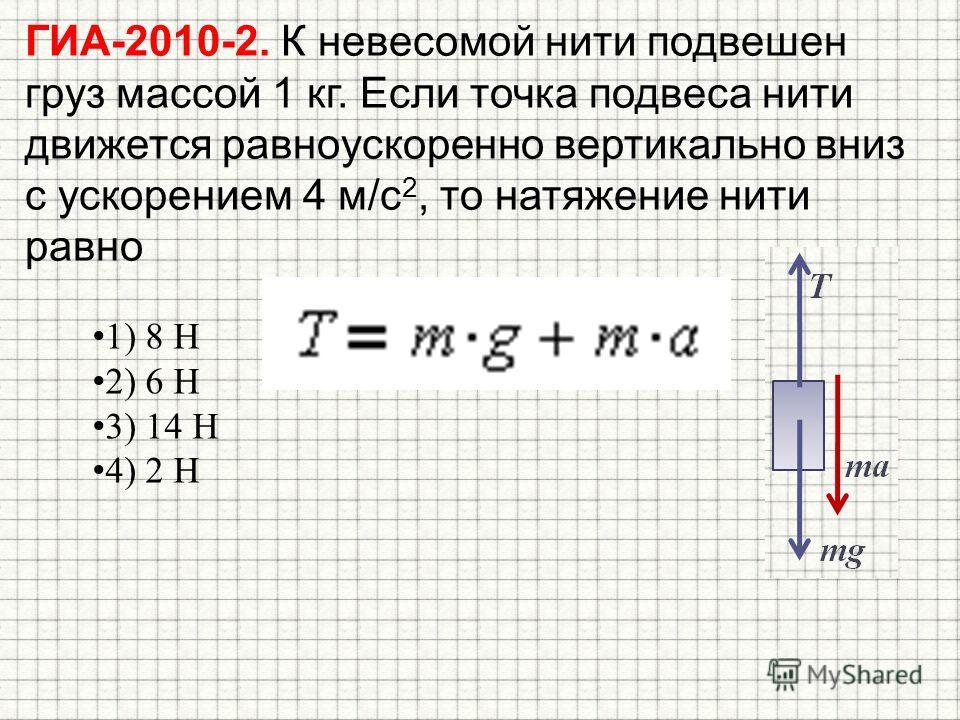 ГИА-2010-2. К невесомой нити подвешен груз массой 1 кг. Если точка подвеса нити движется равноускоренно вертикально вниз с ускорением 4 м/с 2, то натяжение нити равно 1) 8 Н 2) 6 Н 3) 14 Н 4) 2 Н