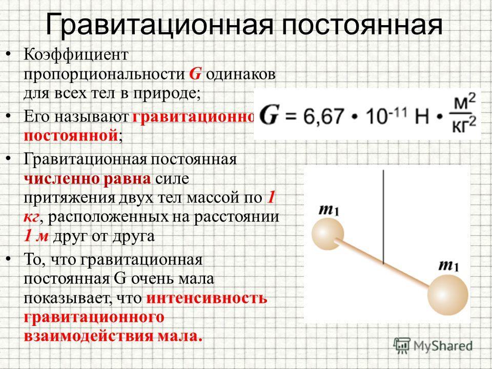Гравитационная постоянная Коэффициент пропорциональности G одинаков для всех тел в природе; Его называют гравитационной постоянной; Гравитационная постоянная численно равна силе притяжения двух тел массой по 1 кг, расположенных на расстоянии 1 м друг