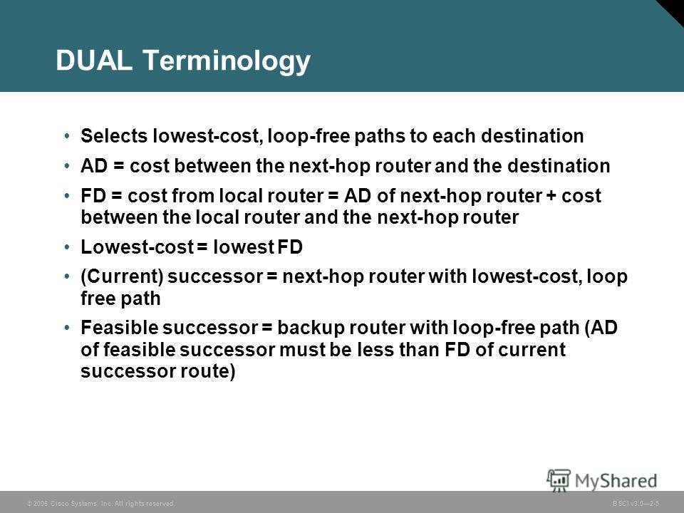 © 2006 Cisco Systems, Inc. All rights reserved. BSCI v3.02-5 DUAL Terminology Selects lowest-cost, loop-free paths to each destination AD = cost between the next-hop router and the destination FD = cost from local router = AD of next-hop router + cos