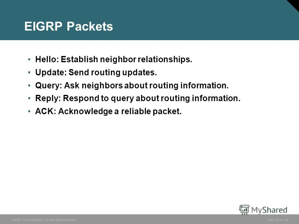 © 2006 Cisco Systems, Inc. All rights reserved. BSCI v3.02-9 EIGRP Packets Hello: Establish neighbor relationships. Update: Send routing updates. Query: Ask neighbors about routing information. Reply: Respond to query about routing information. ACK: