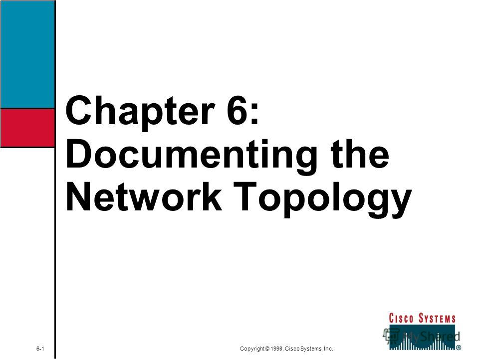 Chapter 6: Documenting the Network Topology 6-1 Copyright © 1998, Cisco Systems, Inc.