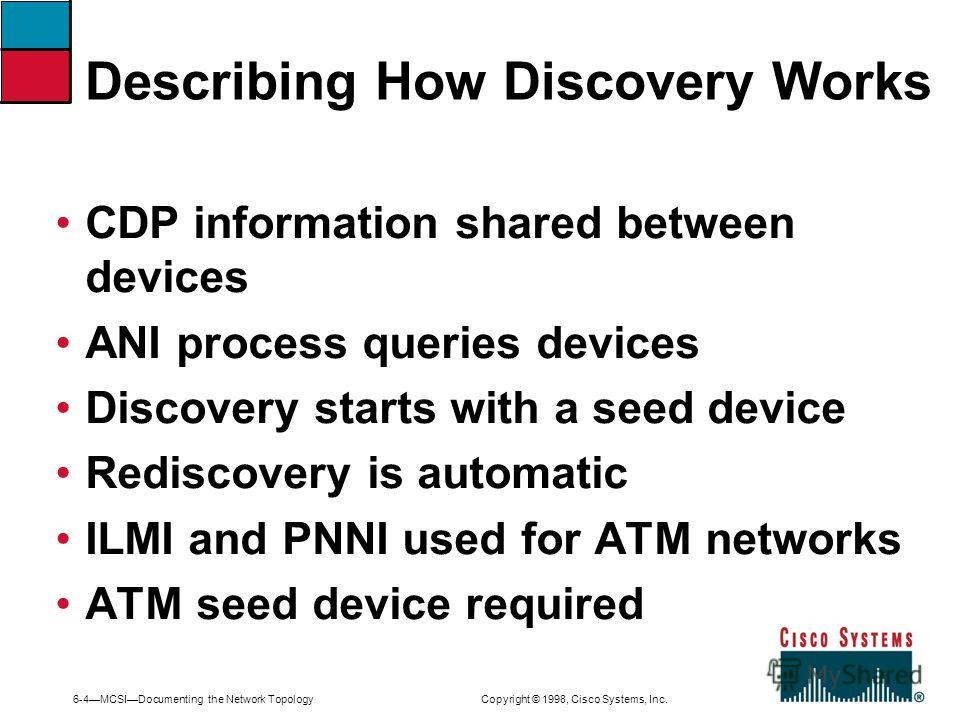 6-4MCSIDocumenting the Network Topology Copyright © 1998, Cisco Systems, Inc. Describing How Discovery Works CDP information shared between devices ANI process queries devices Discovery starts with a seed device Rediscovery is automatic ILMI and PNNI