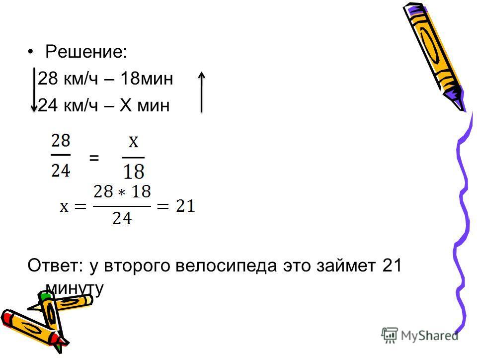 Решение: 28 км/ч – 18 мин 24 км/ч – Х мин = Ответ: у второго велосипеда это займет 21 минуту