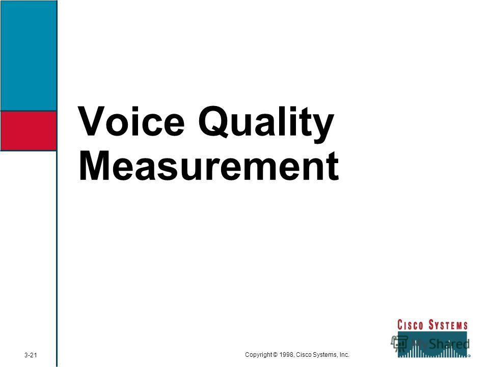 Voice Quality Measurement 3-21 Copyright © 1998, Cisco Systems, Inc.