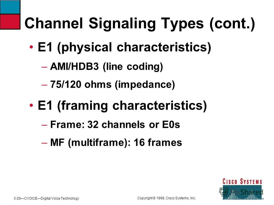 3-29CVOICEDigital Voice Technology Copyright © 1998, Cisco Systems, Inc. Channel Signaling Types (cont.) E1 (physical characteristics) – AMI/HDB3 (line coding) – 75/120 ohms (impedance) E1 (framing characteristics) – Frame: 32 channels or E0s – MF (m