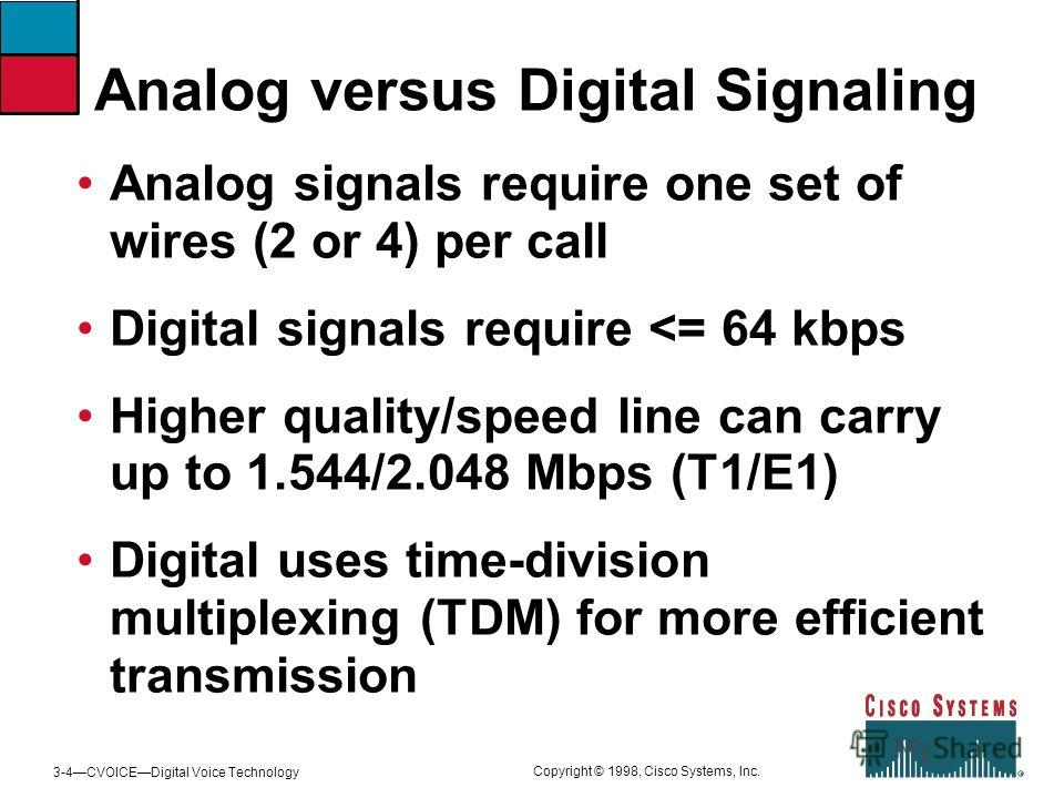 3-4CVOICEDigital Voice Technology Copyright © 1998, Cisco Systems, Inc. Analog versus Digital Signaling Analog signals require one set of wires (2 or 4) per call Digital signals require