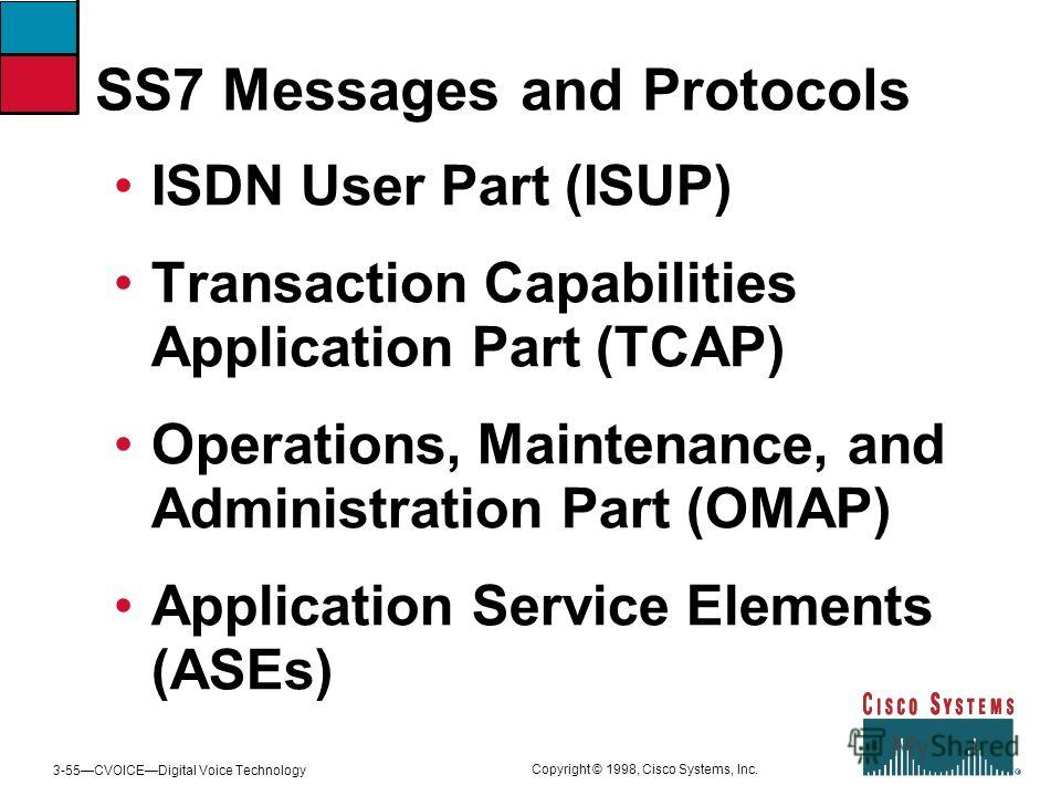 3-55CVOICEDigital Voice Technology Copyright © 1998, Cisco Systems, Inc. SS7 Messages and Protocols ISDN User Part (ISUP) Transaction Capabilities Application Part (TCAP) Operations, Maintenance, and Administration Part (OMAP) Application Service Ele