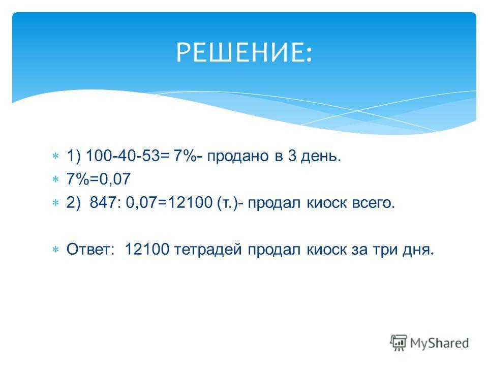 1) 100-40-53= 7%- продано в 3 день. 7%=0,07 2) 847: 0,07=12100 (т.)- продал киоск всего. Ответ: 12100 тетрадей продал киоск за три дня. РЕШЕНИЕ:
