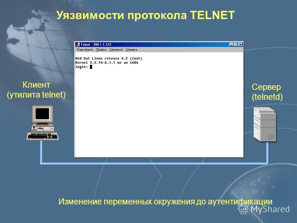 Клиент (утилита telnet) Сервер (telnetd) Передача имени и пароля в открытом виде Уязвимости протокола TELNET