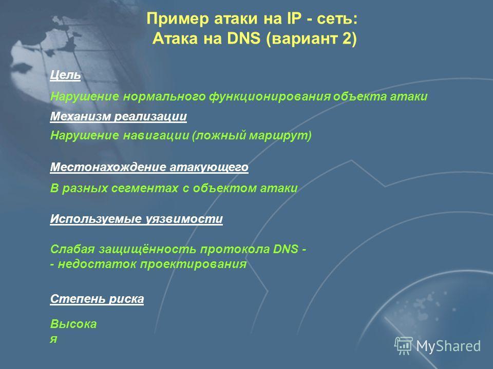 Хост А Узел сети Теперь путь пакета от хоста А до узла сети будет лежать через хост нарушителя Пример атаки на IP - сеть: Атака на DNS