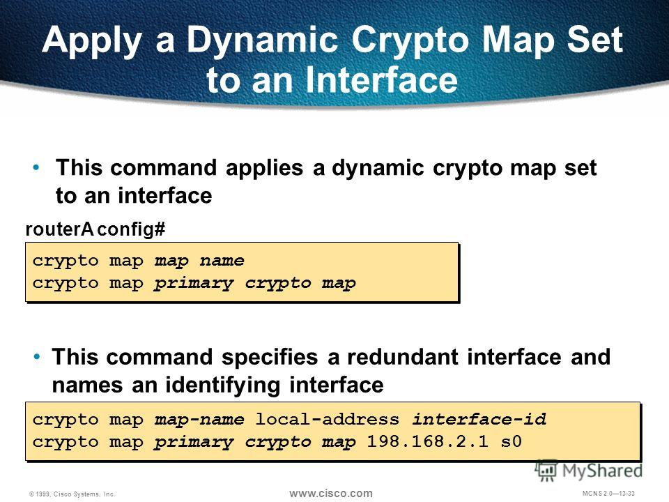 © 1999, Cisco Systems, Inc. www.cisco.com MCNS 2.013-33 Apply a Dynamic Crypto Map Set to an Interface routerA config# crypto map map name crypto map primary crypto map crypto map map name crypto map primary crypto map This command applies a dynamic