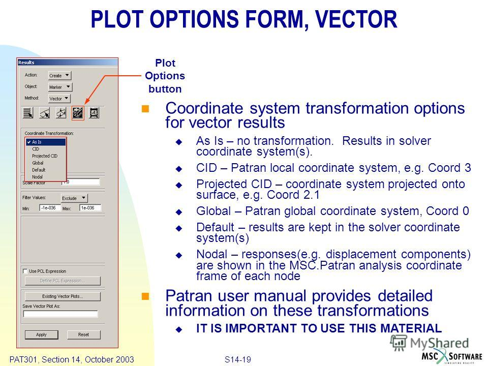 Copyright ® 2000 MSC.Software Results S14-19 PAT301, Section 14, October 2003 Coordinate system transformation options for vector results As Is – no transformation. Results in solver coordinate system(s). CID – Patran local coordinate system, e.g. Co