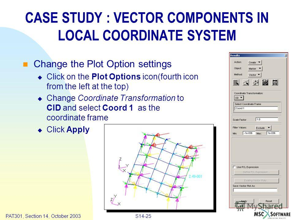 Copyright ® 2000 MSC.Software Results S14-25 PAT301, Section 14, October 2003 CASE STUDY : VECTOR COMPONENTS IN LOCAL COORDINATE SYSTEM Change the Plot Option settings Click on the Plot Options icon(fourth icon from the left at the top) Change Coordi