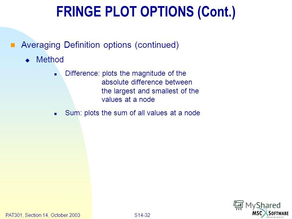 Copyright ® 2000 MSC.Software Results S14-32 PAT301, Section 14, October 2003 FRINGE PLOT OPTIONS (Cont.) Averaging Definition options (continued) Method Difference: plots the magnitude of the absolute difference between the largest and smallest of t