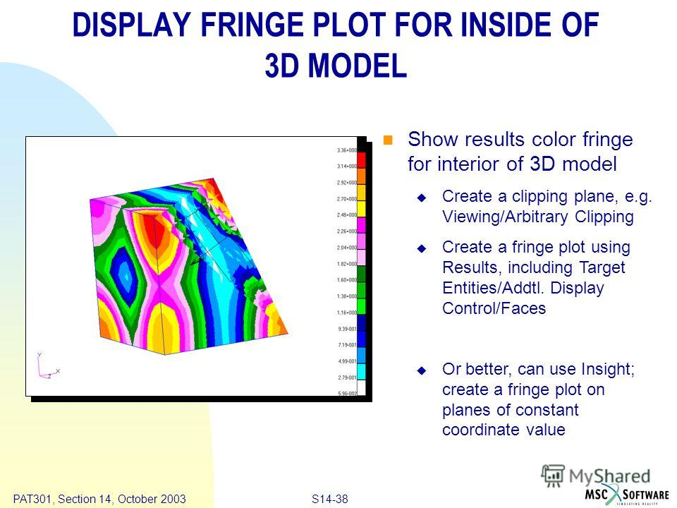 Copyright ® 2000 MSC.Software Results S14-38 PAT301, Section 14, October 2003 DISPLAY FRINGE PLOT FOR INSIDE OF 3D MODEL Show results color fringe for interior of 3D model Create a clipping plane, e.g. Viewing/Arbitrary Clipping Create a fringe plot