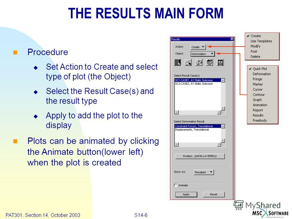 Copyright ® 2000 MSC.Software Results S14-6 PAT301, Section 14, October 2003 THE RESULTS MAIN FORM Procedure Set Action to Create and select type of plot (the Object) Select the Result Case(s) and the result type Apply to add the plot to the display