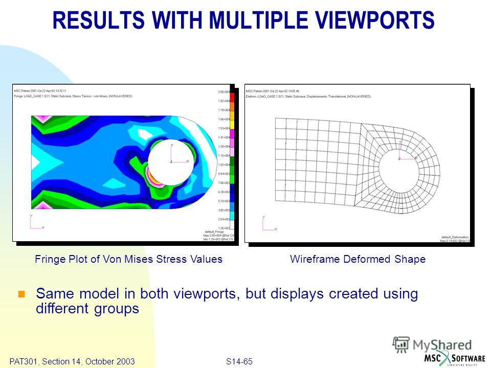 Copyright ® 2000 MSC.Software Results S14-65 PAT301, Section 14, October 2003 RESULTS WITH MULTIPLE VIEWPORTS Fringe Plot of Von Mises Stress ValuesWireframe Deformed Shape Same model in both viewports, but displays created using different groups