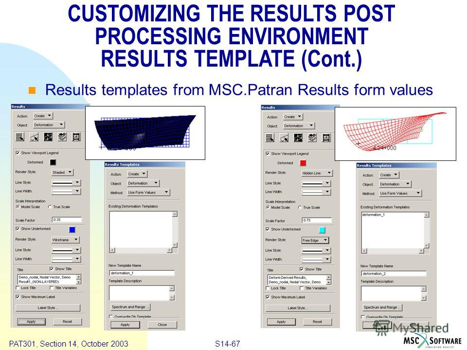 Copyright ® 2000 MSC.Software Results S14-67 PAT301, Section 14, October 2003 CUSTOMIZING THE RESULTS POST PROCESSING ENVIRONMENT RESULTS TEMPLATE (Cont.) Results templates from MSC.Patran Results form values