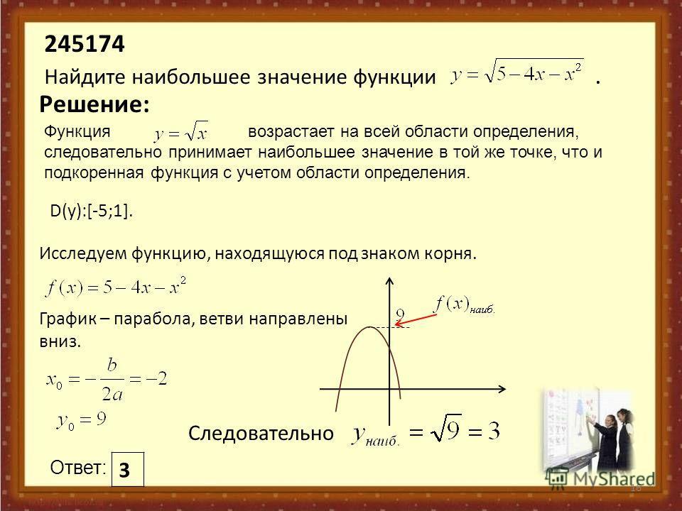 Функция возрастает на всей области определения, следовательно принимает наибольшее значение в той же точке, что и подкоренная функция с учетом области определения. 245174 Найдите наибольшее значение функции. 16 Решение: Исследуем функцию, находящуюся