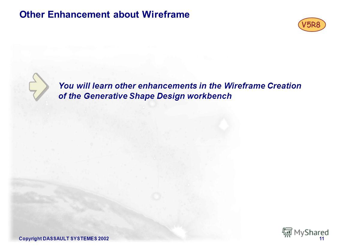 Copyright DASSAULT SYSTEMES 200211 You will learn other enhancements in the Wireframe Creation of the Generative Shape Design workbench Other Enhancement about Wireframe V5R8